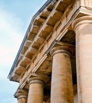 Front of an old greek or roman style law building